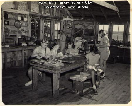 Camp Runoia craft shop, Belgrade Lake, 1951
