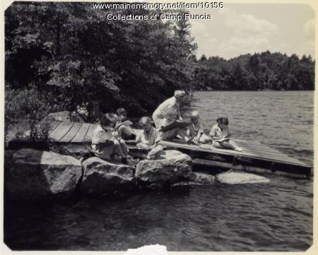 Outdoor crafts lesson at Camp Runoia, 1951