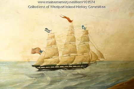 WFT schooner approaching the lighthouse mural, Westport Island, ca 1858