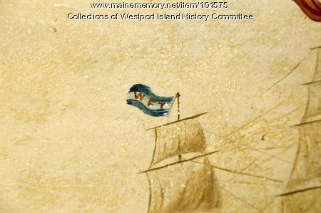 Detail of schooner approaching the lighthouse mural, Westport Island, ca. 1858
