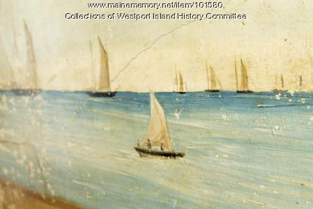 White sails on the sea mural detail, Westport Island, ca. 1858