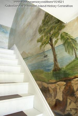 Cliff-top trees over the ocean mural, Westport Island, ca. 1858