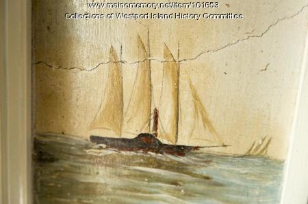 Merchant schooner returns mural, Westport Island, ca. 1858