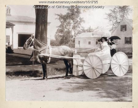 Women in parade carriage, South Berwick, 1914