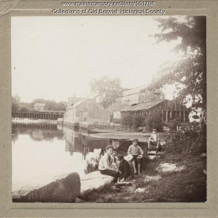 Boys at Quamphegan Landing, South Berwick, ca. 1900