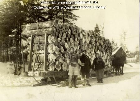 Horses and sled hauling logs, St. Agatha, ca. 1905