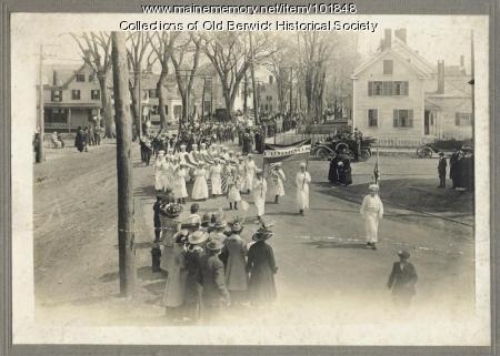 Cummings parade banner, South Berwick, ca. 1915