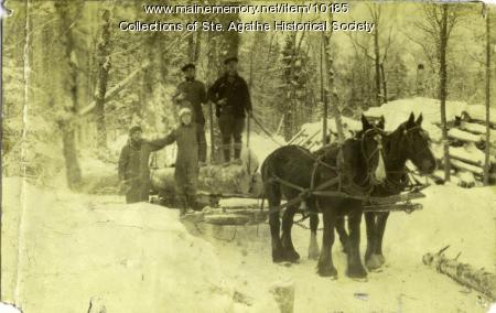 Hauling Logs, St. Agatha, ca. 1930