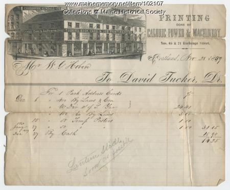 Invoice from Tucker's Book, Card & Job Printing Office, Portland, 1859