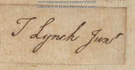 Signature of Thomas Lynch, Jr., 1766