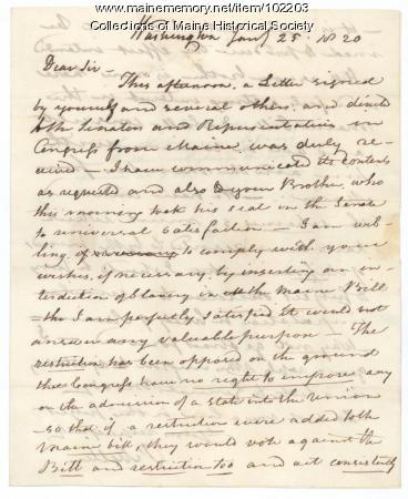 Prentiss Mellen to William King regarding the Missouri Compromise, Washington, DC, 1820