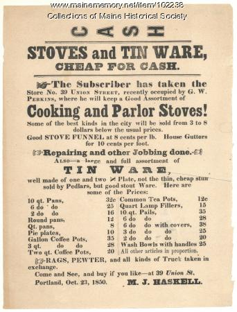 Store Advertisement, M. J. Haskell, Portland, 1850