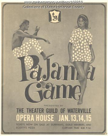 """Pajama Game"" poster, Waterville, 1967"