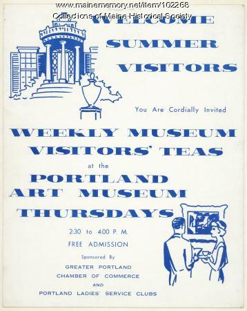 Poster for Portland Art Museum visitors' teas, ca. 1965