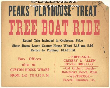 Poster for Peaks Playhouse musical events, Portland, ca. 1915