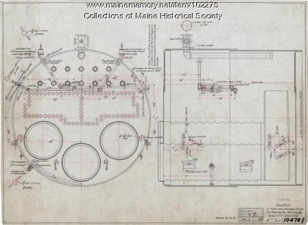 Portland Company shop drawing of a ship boiler, Portland, 1905