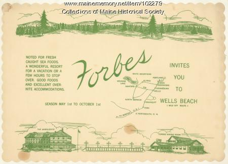 Placemat for Forbes Dining, Wells Beach, ca. 1960