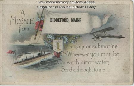 Military-craft themed postcard, Biddeford, ca. 1917