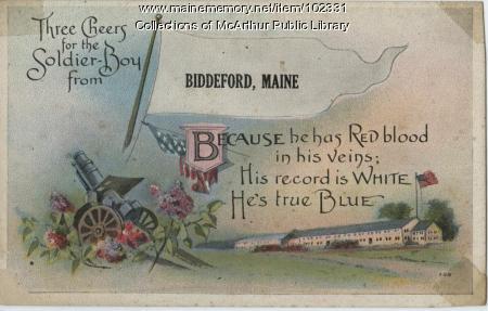 Military-scene postcard, Biddeford, ca. 1917
