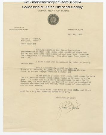 James Boyle writes to Joseph Murray regarding Paris Convention, Waterville, 1927
