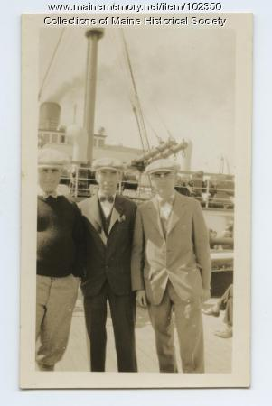 Joseph Murray and friends on deck of the R.M.S. Scythia, 1927