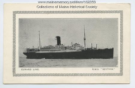 """R.M.S """"Scythia"""" travel log card, September, 1927"""