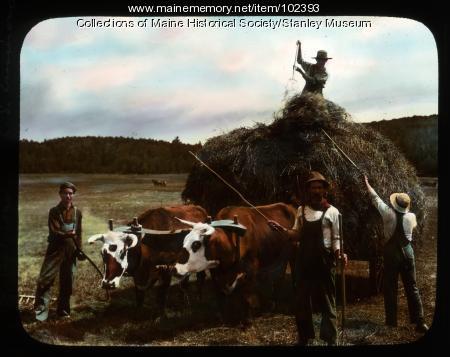 """The Last Load"" on the True farm, New Portland, ca. 1910"