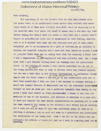 William Johnston informs Mildred Burrage about hospital, France, 1914