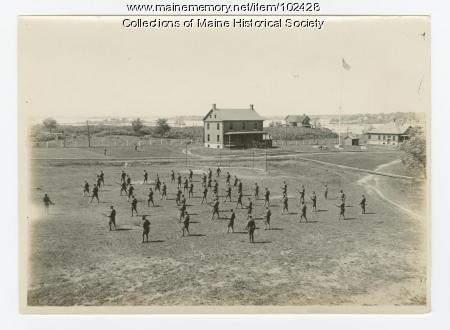 Fort Levett military training drills, Cushing Island, ca. 1917
