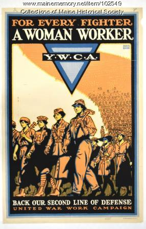 """""""For Every Fighter A Woman Worker"""" Y.W.C.A. World War I poster, 1918"""