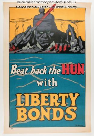 Beat back the Hun with Liberty Bonds World War I poster, 1918