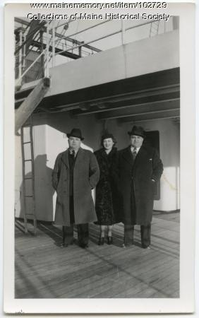 Lillian, Arthur, and Charles Unobskey aboard a ship, ca. 1938