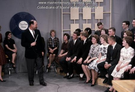 Deering High School students react on set of The Dave Astor Show, Portland, 1962