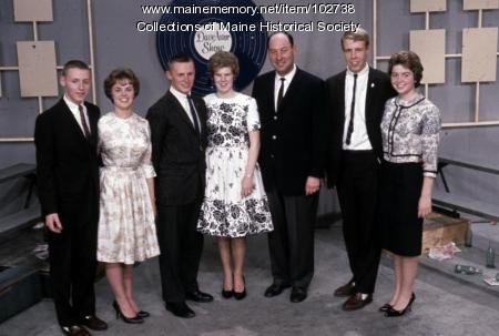 Deering High School guests pose with Dave Astor, Portland, 1962