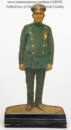 Portrait of Anthony Petropulos in policeman's uniform, Lewiston, 1940