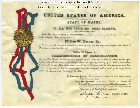 William Widgery Thomas' Commissioner of Immigration certificate, Portland, 1870