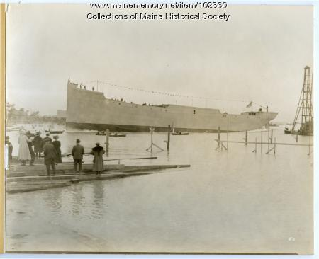"""The Launching of the S.S. """"Cumberland,"""" South Portland, 1918"""