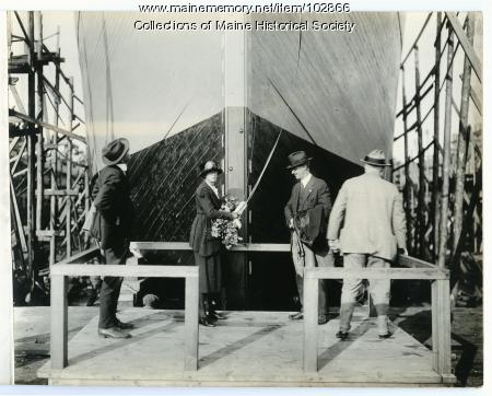 """The christening of the S.S. """"Belgrade,"""" South Portland, 1918"""