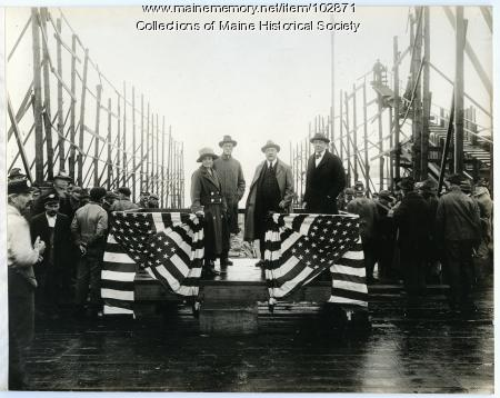 """Site of the S.S. """"Lewiston"""" launch, South Portland, 1918"""