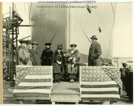 """Christening of the S.S. """"Orhom,"""" South Portland, 1919"""
