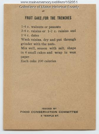 """Fruit Cake For The Trenches"" recipe, ca. 1917"