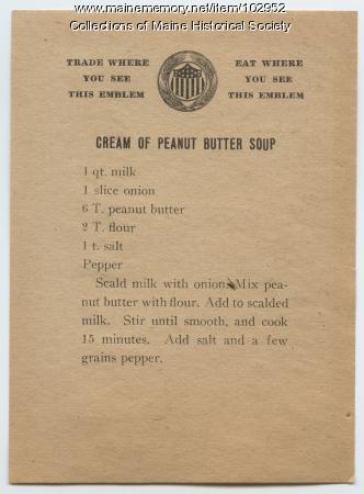 Peanut butter soup recipe, ca. 1917