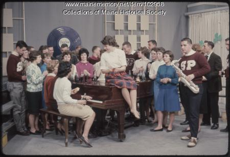 South Portland High School students perform around a piano on The Dave Astor Show, Portland, 1962