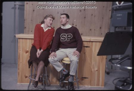 South Portland High School students perform a duet on the set of The Dave Astor Show, Portland, 1962