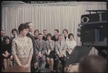 Mechanic Falls High School students perform a duet on the set of The Dave Astor Show, Portland, 1962