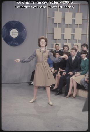 Mechanic Falls High School student performs on the set of The Dave Astor Show, Portland, 1962