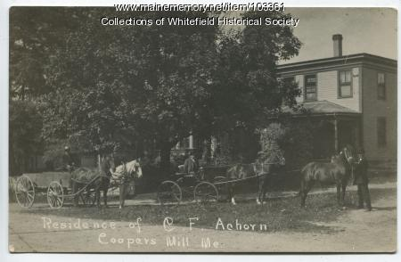 C. F. Achorn and horses, Coopers Mills, Whitefield, ca. 1908