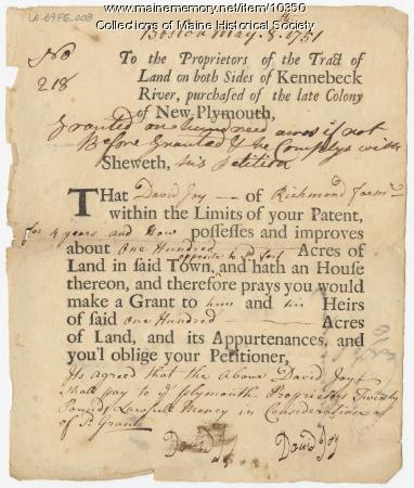 David Joy land deed, Richmond Farm, 1751