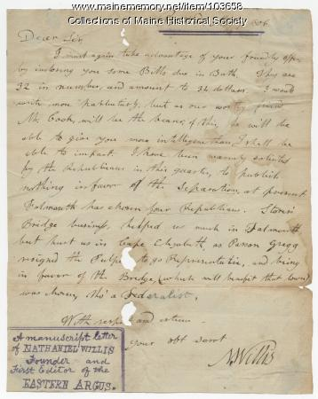 Nathaniel Willis to William King regarding newspaper politics, Portland, 1806