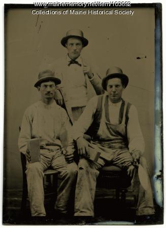 Bricklayers with their tools, ca. 1865